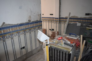 Taken from the same spot. The kitchen and utility area opened out, and tiled
